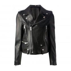 Kim Kardashian Slim Fit Black Biker Leather Jacket