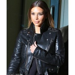 Kim Kardashian Black Biker Style Leather jacket For Women