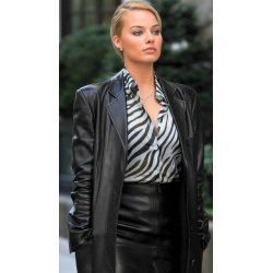 Margot Robbie Black Leather Jacket