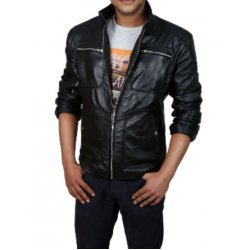 Men 4 Pockets Black Leather Jacket
