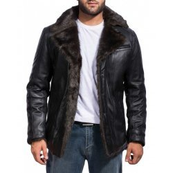 Men Black Fur Leather Jacket