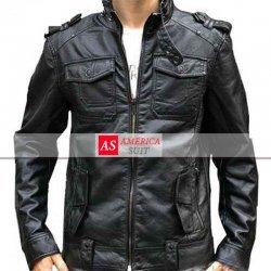 Men Black Leather Banded Collar Jacket