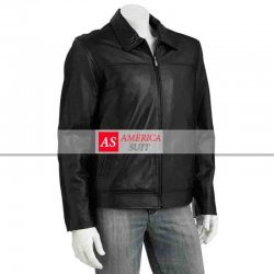 Men Black Leather Excelled Jacket On Sale