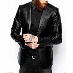 Men Classic Button Closure Black Leather Blazer