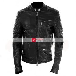 Men Black Leather Motorcyle Leather Jacket
