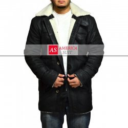 Men Black Snuffed Nubik Leather Coat With Shearling