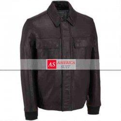 Men Bomber Leather Jacket Rib Knit Trim