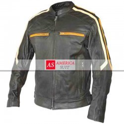 Men Classic Cafe Racer Motorbike Leather Jacket