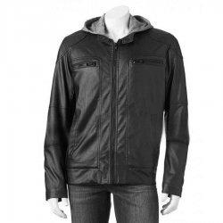 Mens Black Hoodie Faux Leather Moto Jacket
