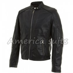 Mens Black Leather Biker Jacket On Hot Sale