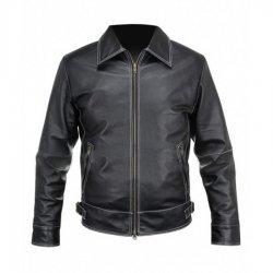 Mens Black Leather Stitched Jacket
