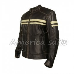 Mens Brown Cafe racer leather Jacket