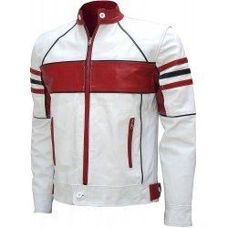 Men's Stylish White & Red Biker Leather Jacket