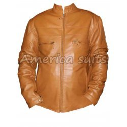 Mens Tan Color Basic Leather Jacket