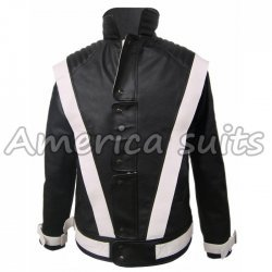 Michael Jackson Thriller black with white stripes Leather Jacket