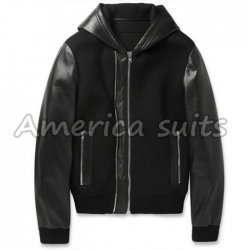 Fashionable Men Hoodied Fleece And Leather Jacket