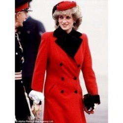 Lady Diana Princess Red Wool Coat