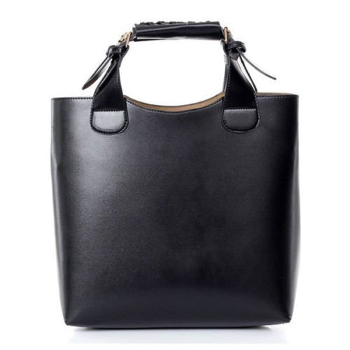 Ladies Womens faux Leather Shoulder Tote Hobo Handbag large Purse Bag In Black