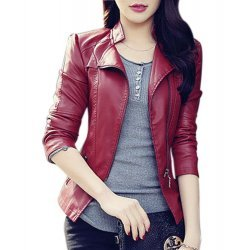 Red Faux Leather Biker Style Women Jacket