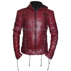Roy Harpers Arrow Season 3 Maroon Leather Jacket For Men