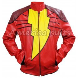 Shazam Red Leather Jacket