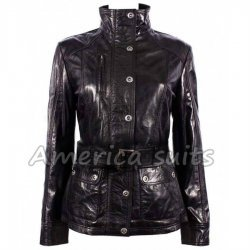 Soft Leather Jacket With wrinkle For Women