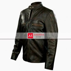 Tom Cruise Brown Distressed Motorbike Leather Jacket