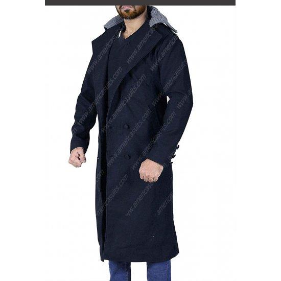Tom Hardy Taboo James Keziah Delaney Fur Collar Black Trench Coat