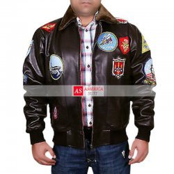 Top Gun A2 Fighter Bomber Brown Pilot Leather