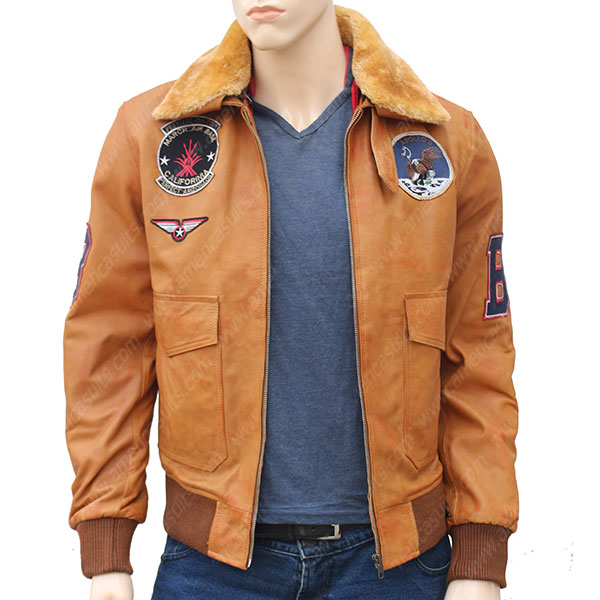 Vintage Leather Bomber Sherpa And Patches