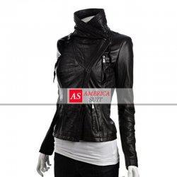 Women Asymmetrical Black Leather Jacket