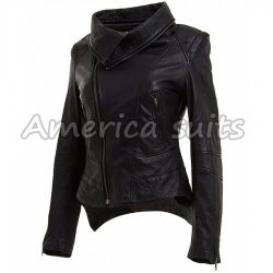 Women Black Leather Biker Jacket