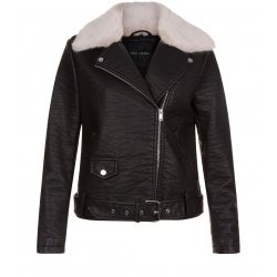Women Black Leather Bomber Jacket