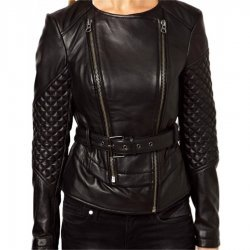 Women Double Zipper Quilted Leather Jacket