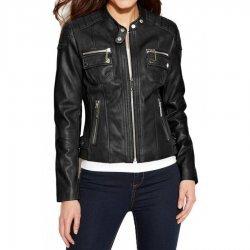 women Black Leather moto Street Style Jacket