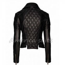 Women Quilted Biker Leather Jacket