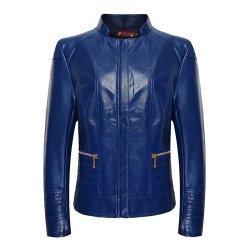 Women Blue Leather Jacket