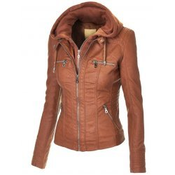Women Brown Hooded Leather Jacket