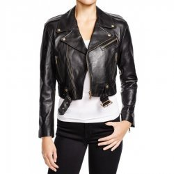 Women Belted Cropped Leather Jacket