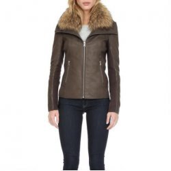 Women Leather Jacket Raccoon Fur Collar
