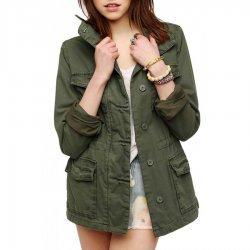 women Military Green 4 Pocket Jacket