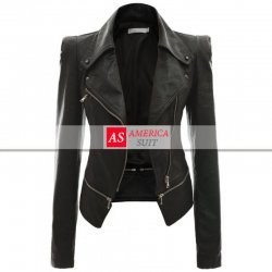 Women Power Shoulder Black Leather Jacket