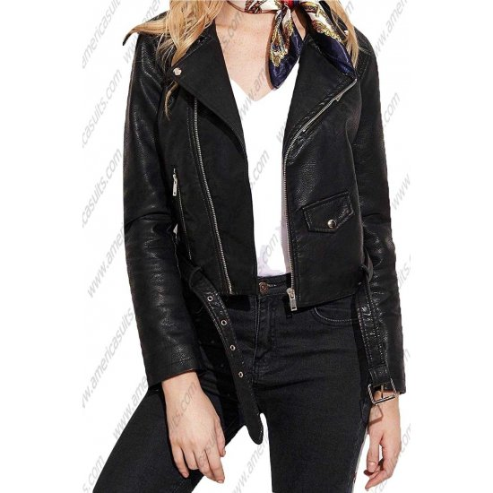 Womens Zipper Clouser Leather Jacket Short Motorcycle Biker Lambskin Leather Jackets for Women