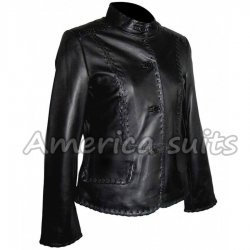 Womens Lambskin Black Real Leather Short Jacket