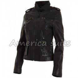 Wrinkled Black Jacket For Women