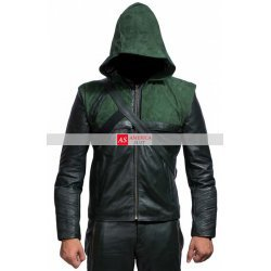 Stephen Amell Green Arrow Leather Hoodie Jacket