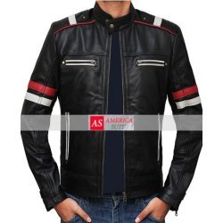 Richmond Premium Black Red and White Striped Men Retro Racing Leather Jacket