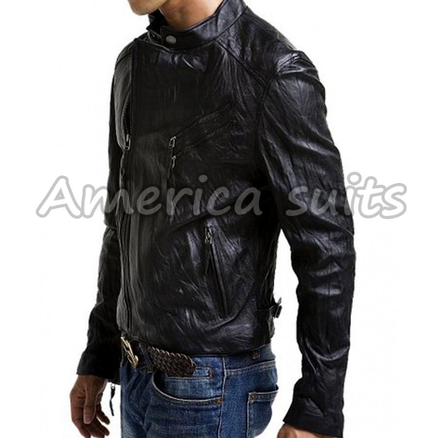 Slim-Fit Mens Leather Jacket
