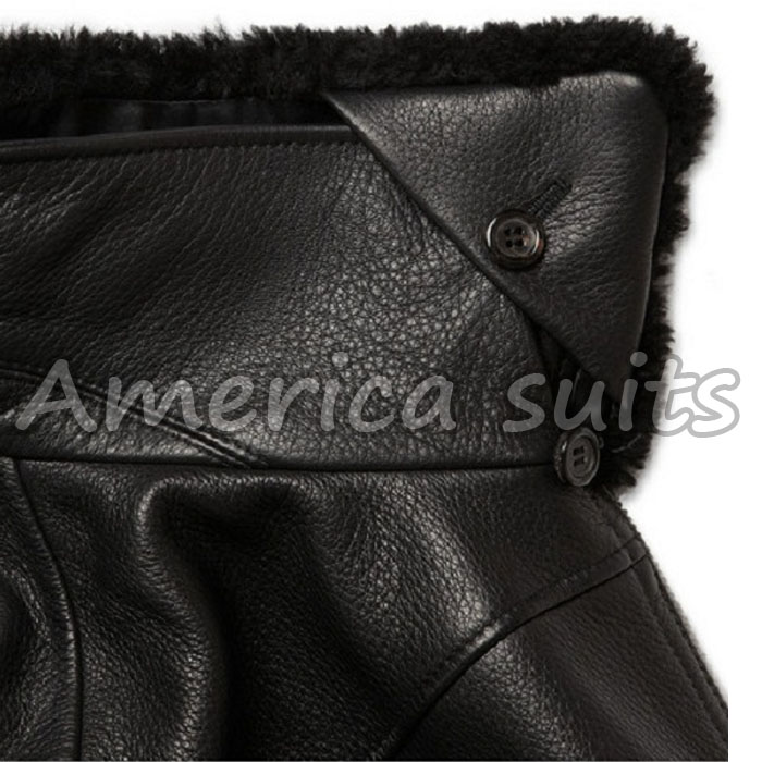 Leather Bomber Jacket with Fur