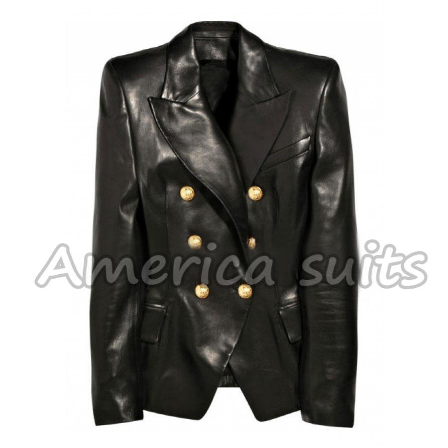 Kim Kardashian Double Breasted Leather Jacket